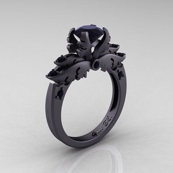 jewels ring matte black dark purple enchanting black gems