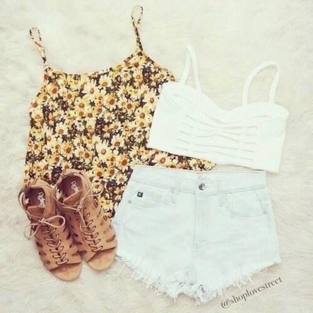 top shorts shoes shirt crop tops white bralette