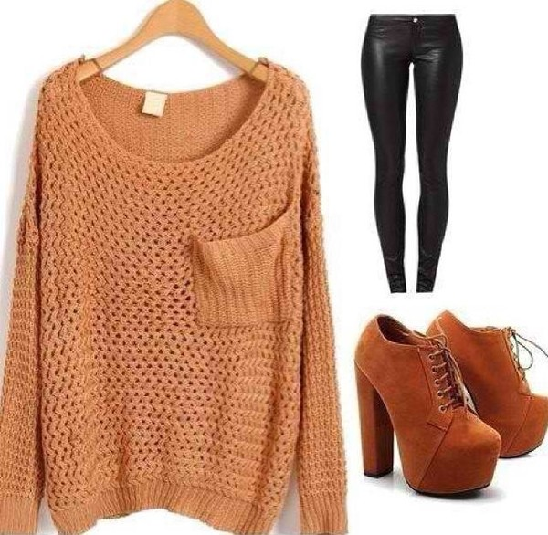 sweater knitted sweater leather leggings high heels pants shoes