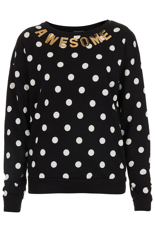 Topshop Black Gold Spotty Spot Jumper Awesome Sweater BNWT Letter UK 8 12 14 16 | eBay