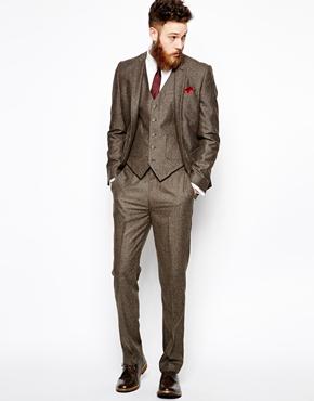ASOS | ASOS Slim Fit Vest In Herringbone at ASOS