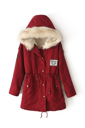 Fur Hooded Ladies Parka Coat with Belt [FEBK0331]- US$79.99 - PersunMall.com