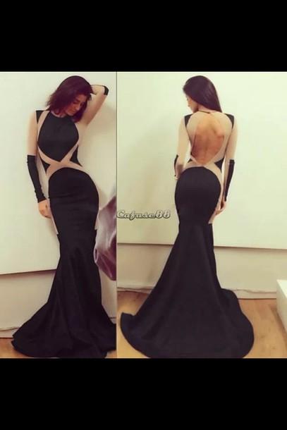 dress black bodycon gown sleeve less open back mermaid
