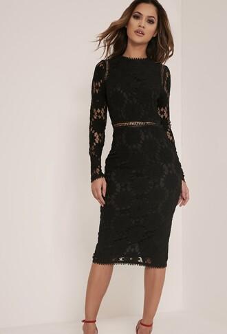 dress black long sleeve lace midi dress