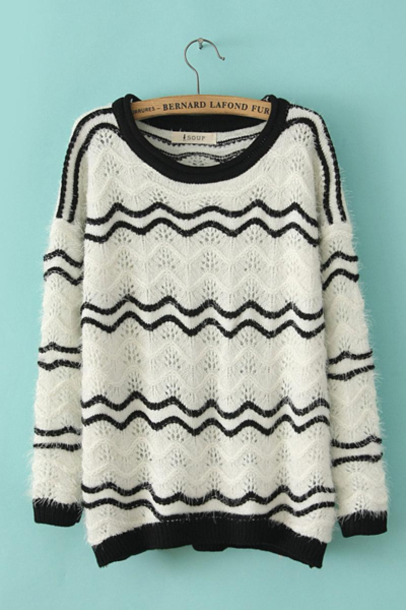 Wavy Lines Loose Pullover Sweater,Cheap in Wendybox.com
