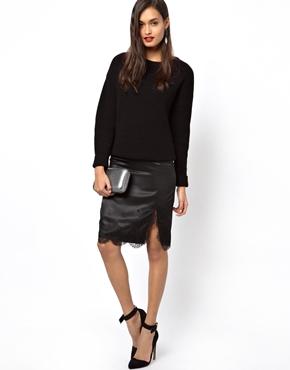 ASOS | ASOS Satin Slip Skirt With Lace Hem at ASOS