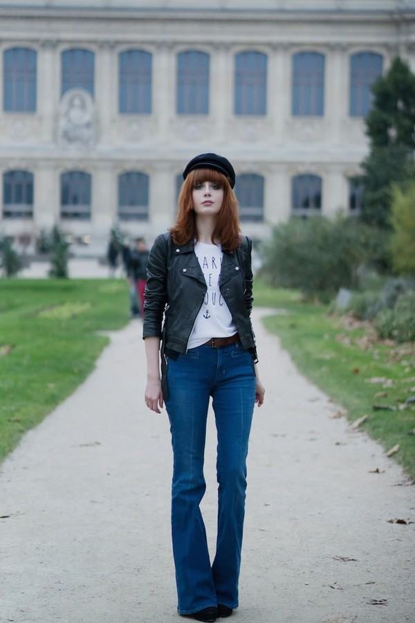 miss pandora jeans jacket t-shirt shaman french quote on it flare jeans