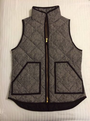 J Crew Herringbone Quilted Excursion Puffer Vest XS | eBay