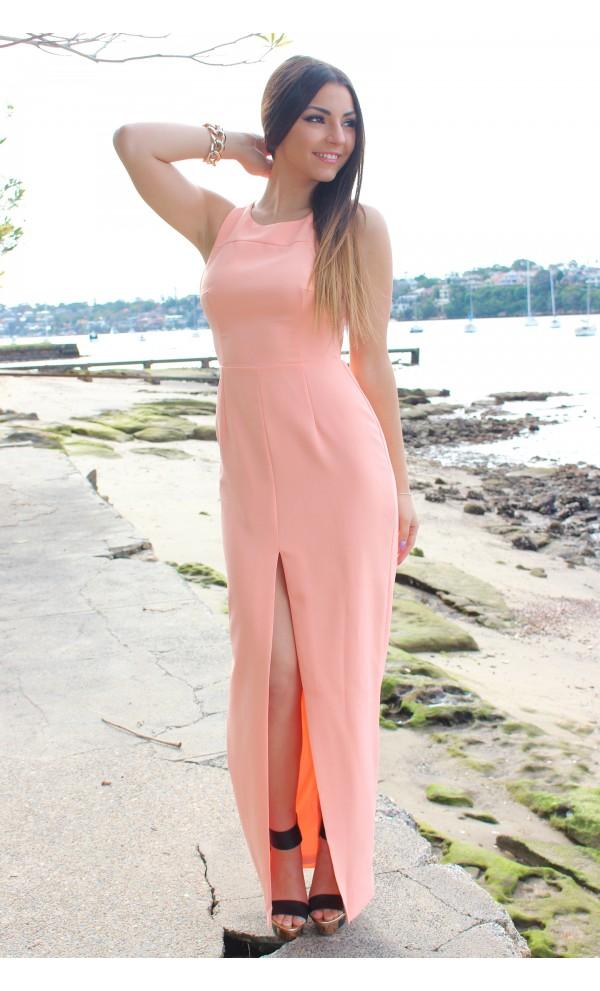 Coral Longer Lengths Dress - Peach Open Back Maxi Dress | UsTrendy