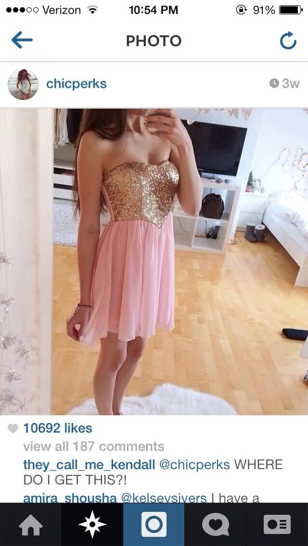 dress pink chiffon sequin dress gold sequins strapless dress