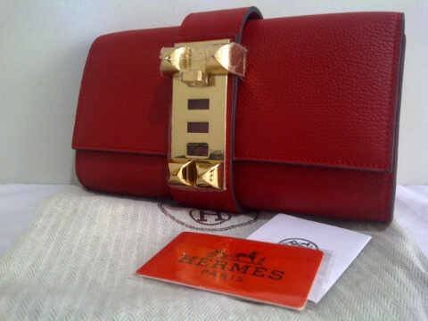 Hermes Medor Clutch Bag - Dark Red Togo w/ Gold-Bagaholics