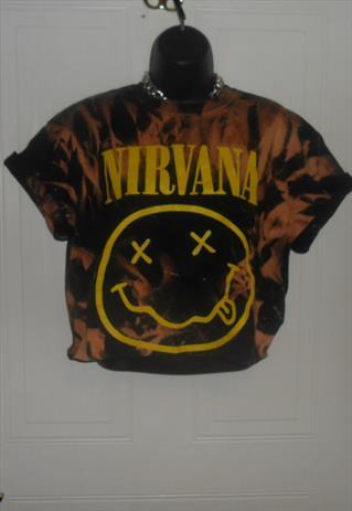 unisex customised NIRVANA acid wash crop top t/shirt summer | mysticclothing | ASOS Marketplace