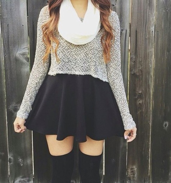 top grey sweater cropped sweater long sleeves skirt