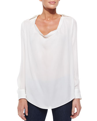 Haute Hippie Collared Cowl-Neck Blouse, Swan
