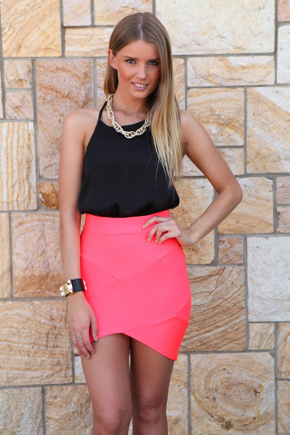 Pink Mini Skirt - Neon Pink Cross Over Bandage   UsTrendy