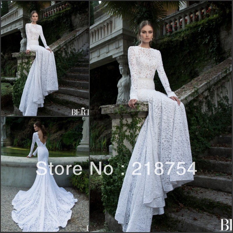 Aliexpress.com : Buy Charming Scoop Long Sleeves Backless Mermaid White Lace Chapel Train Fashion New Wedding Dresses Bridal Gown 2014 Arrival from Reliable dresses fashion suppliers on Lhasa Roland_love