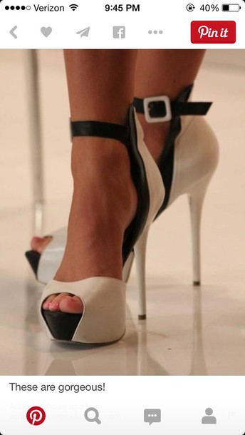 shoes cream and black heels