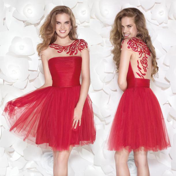 dress short prom dress homecoming dress red prom dress