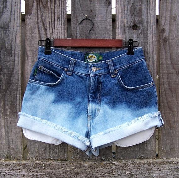 Ombre pantaloncini jeans a vita alta taglio off di GloriousMorn