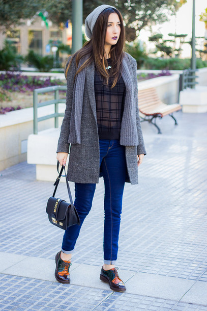 shoes and basics blogger coat see through charcoal hipster derbies