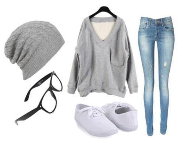 sweater jeans shoes hat