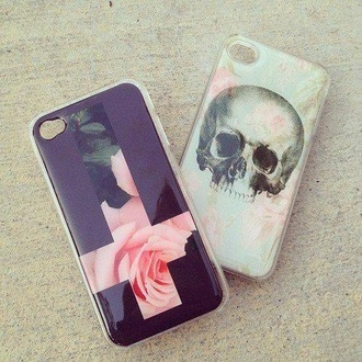 jewels grunge fashion iphone cover iphone case iphone 5 case phone skull cross cross logo pink flowers flowers pink roses indian jewelry