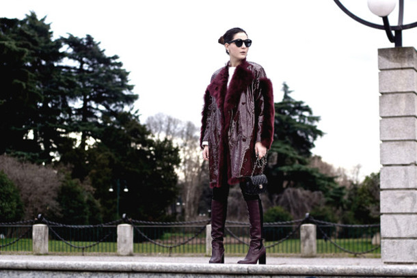 onto my wardrobe blogger burgundy winter coat leather boots coat jeans shoes bag sunglasses