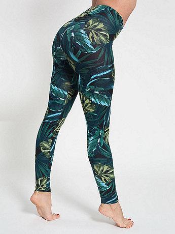 Jungle Leaves Print Cotton Spandex Jersey Legging | American Apparel