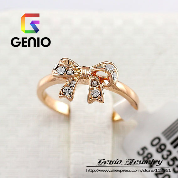 GN R113 Italina18K Gold Plated Bow OL lovely ring Made with Genuine SWA ELEMENTS  Austria Crystals-in Rings from Jewelry on Aliexpress.com