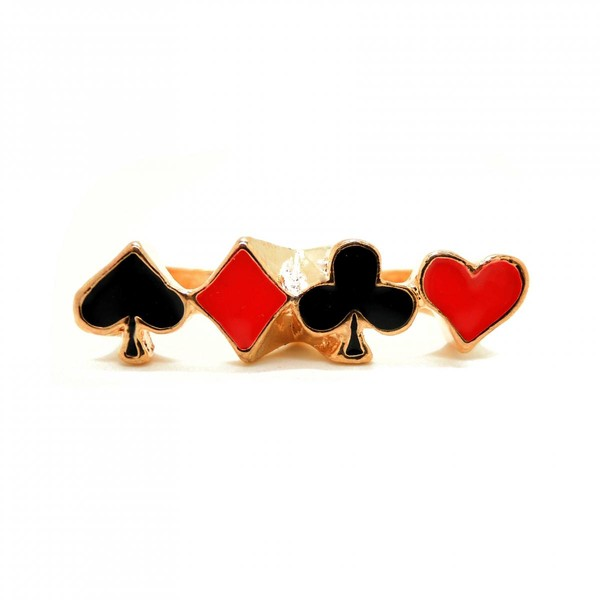 jewels poker jewelry ring clover diamonds red black