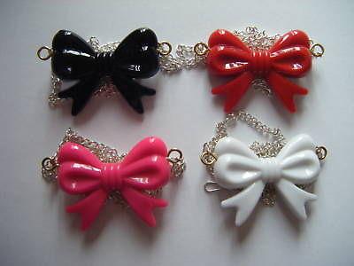 Cute Big Bow Necklace Goth Rock Emo Kitsch Pink Black | eBay