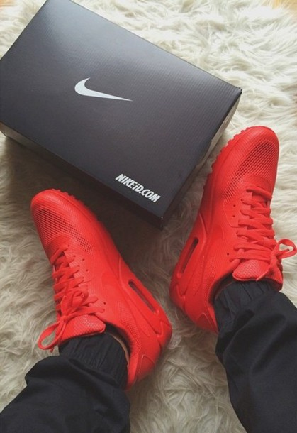 all red air max 90 solar red
