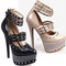 Ladies womens black nude stud spike diamante strappy high heel platform shoe 3-8 | ebay