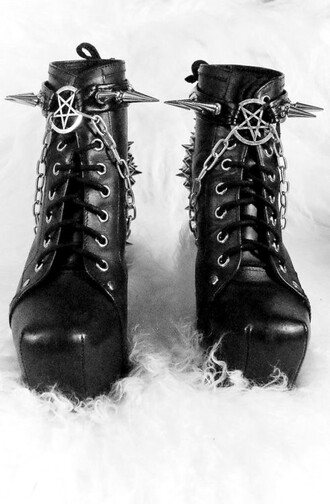 jewels goth boot strap straps pentagram tumblr studded stud studs shoes lita studded lita