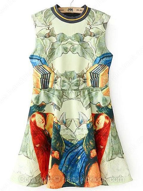 Green Round Neck Sleeveless Artwork Artistic Prints Dress - HandpickLook.com