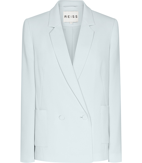 Ada Ice Blue Relaxed Double Breasted Jacket - REISS