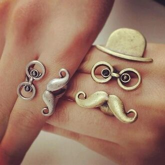 jewels ring moustache gold silver glasses clothes jewelry