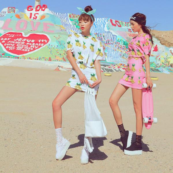 top banana print co-ord co ord stylenanda korean fashion print tropical summer shoes socks