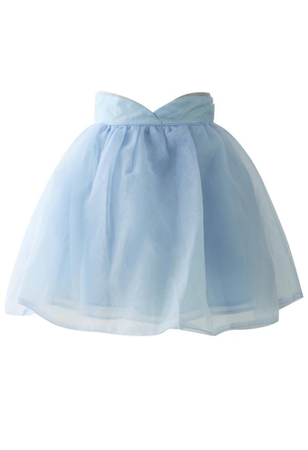 skirt sweet memory pastel pastel blue organza