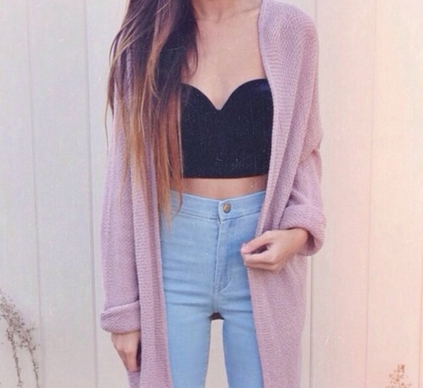 coat pants shirt cardigan jeans high waisted acid wash cute crop tops winter outfits sweater high waisted jeans tumblr light-wash clothes celebs swag denim swag summer outfits ootd jacket underwear top pink knitwear tank top black bleu summer pastel