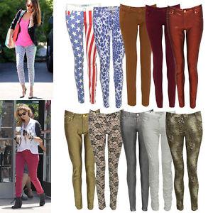 Women Ladies Animal Leopard American Floral Print Skinny Fit Denim Jeans Jegging   eBay