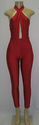 NWT Women's Deep V Neck Sexy Club Jumpsuits Red Color Bodycon USA