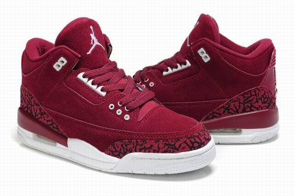 Real Suede Women Air Jordan 3 Red-White
