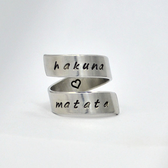 Hakuna Matata Ring Wrap Around Ring Adjustable by TheVillageGifts