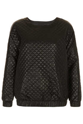Quilted Leather-look sweater - Topshop