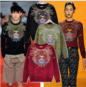 Hip Hop Ke Woman Star Tiger Sweater Knit Coat Top Embroidery Sweaters Fashion | eBay