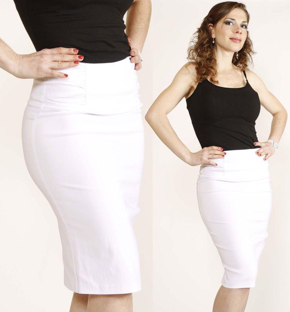 XL Shirring Sleek Slim High Waisted Stretch Career Fitted Knee Pencil Skirt | eBay