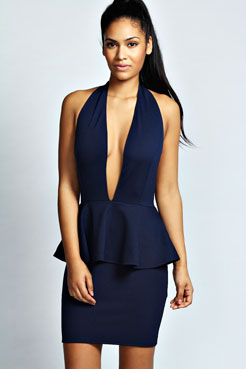 Renee Plunge Halter Neck Peplum Dress at boohoo.com