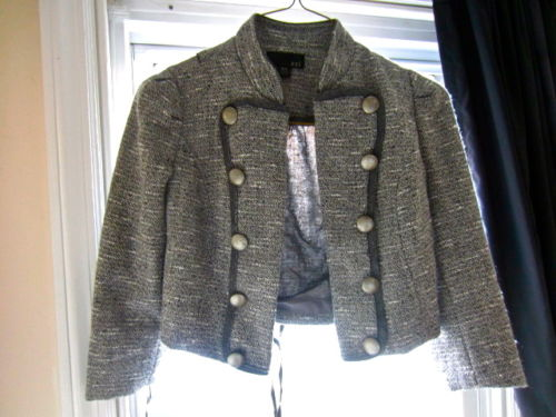Small Tweed Buttoned Gray Military Army Cropped Cardigan Blazer Jacket   eBay