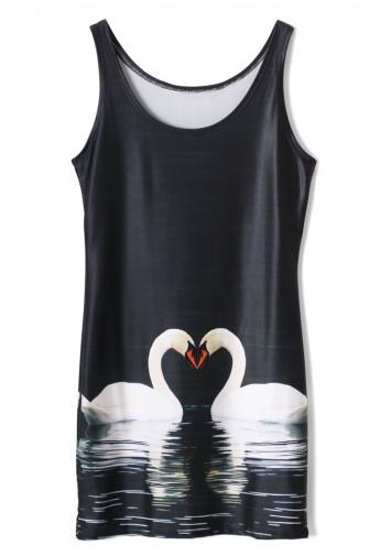Swan Print Slip Silky Dress - Retro, Indie and Unique Fashion
